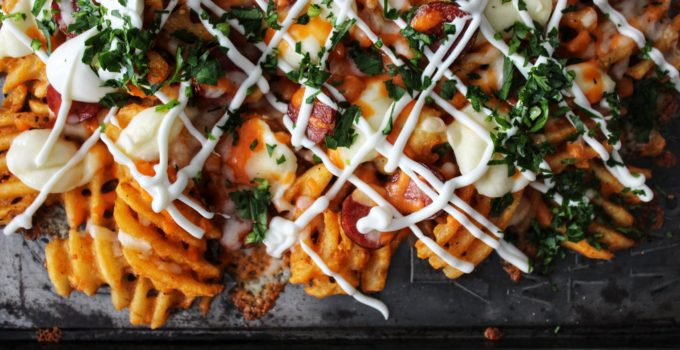 Baked & Loaded Sweet Potato Waffle Fries