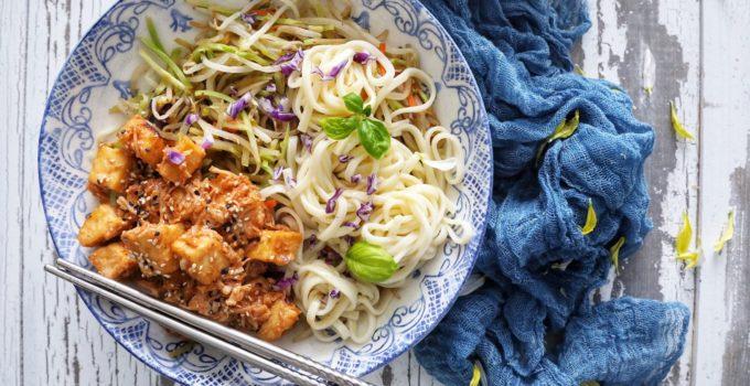 Orange Ginger Pulled Chicken & Tofu Noodle Bowls