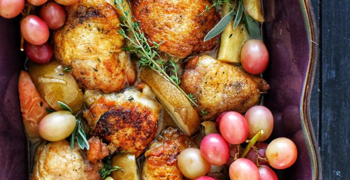 Chicken with Fall Fruit & White Truffle Oil