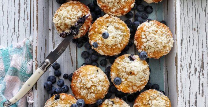 Zesty Blueberry Greek Yogurt Streusel Muffins
