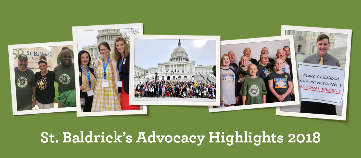 Collage of images showing St. Baldrick's advocacy efforts in 2018.