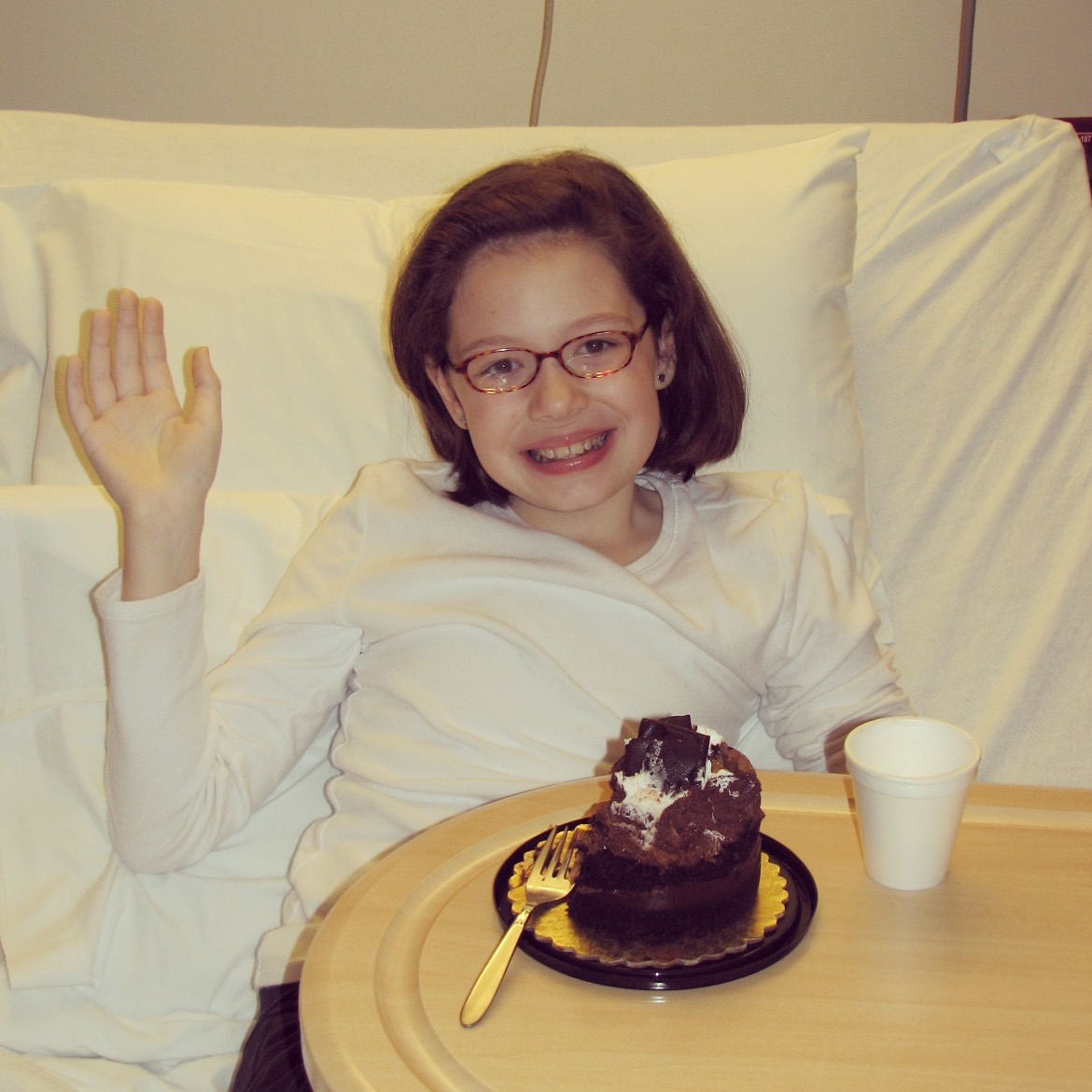 Georgia celebrating her tenth birthday in the hospital, where she learned she had acute lymphoblastic leukemia.
