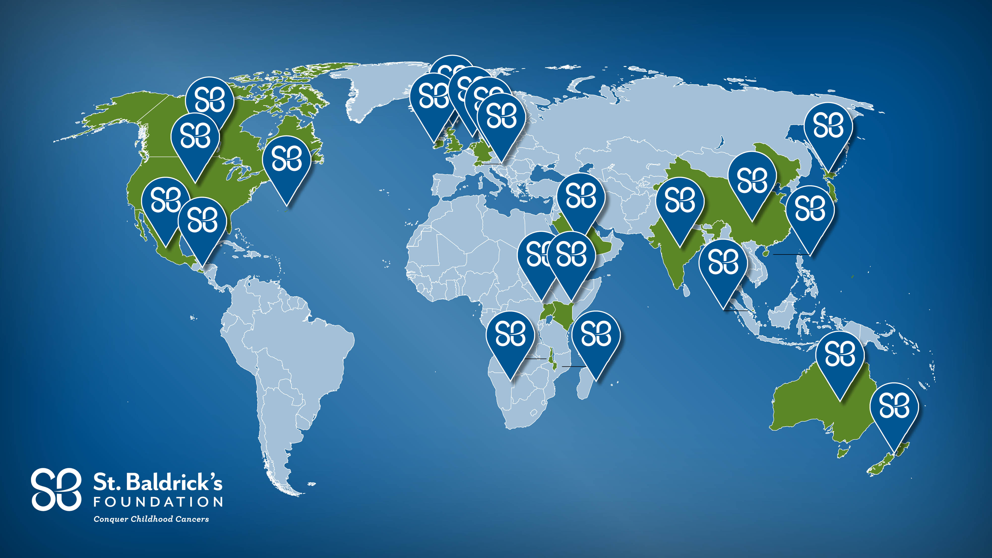 Global map showing St. Baldrick's research activity around the world.