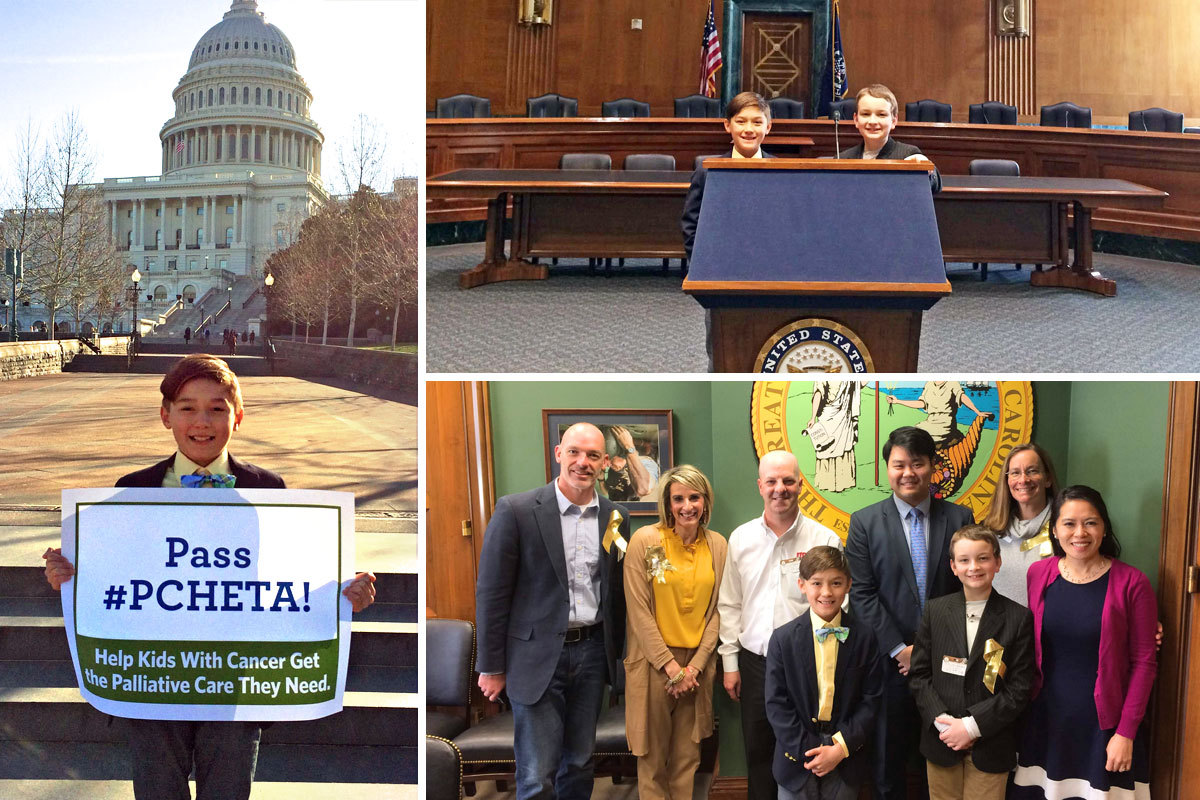 Collage showing Scott and other childhood cancer advocates in Washington, D.C.