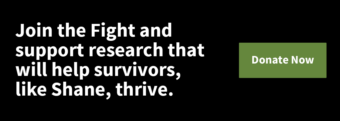 A website banner inviting readers to learn more about pediatric cancer survivors by clicking through.