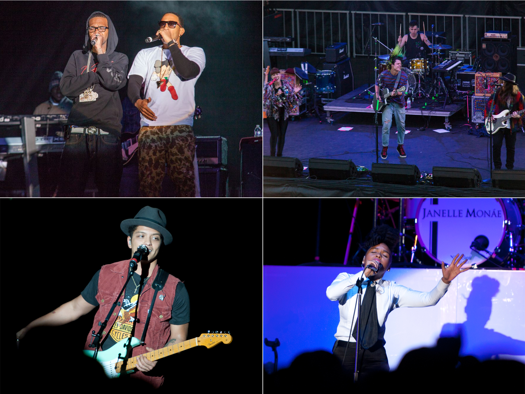 Top: Ludacris and Grouplove perform at Brookfest 2013. Bottom: Bruno Mars and Janelle Monae take the stage in 2011. (STATESMAN STOCK PHOTO)