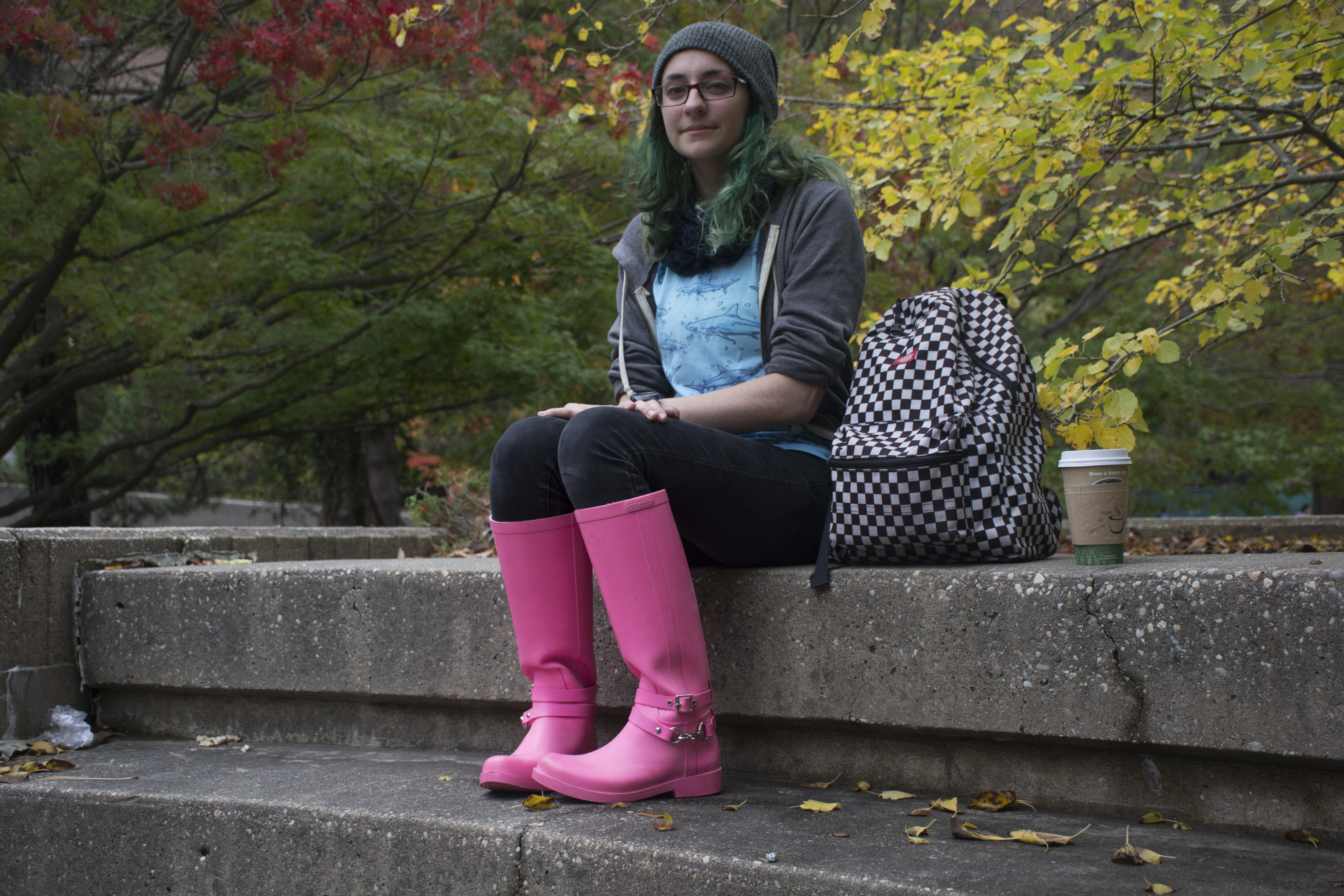 """Jennifer Brandstadter, a junior chemistry major, poses for a photo on Thursday, Oct. 16, 2014. """"I like mixing unconventional patterns"""" and clothing that is 'visually interesting,'"""" Brandstadter said. (MEGAN MILLER / THE STATESMAN)"""