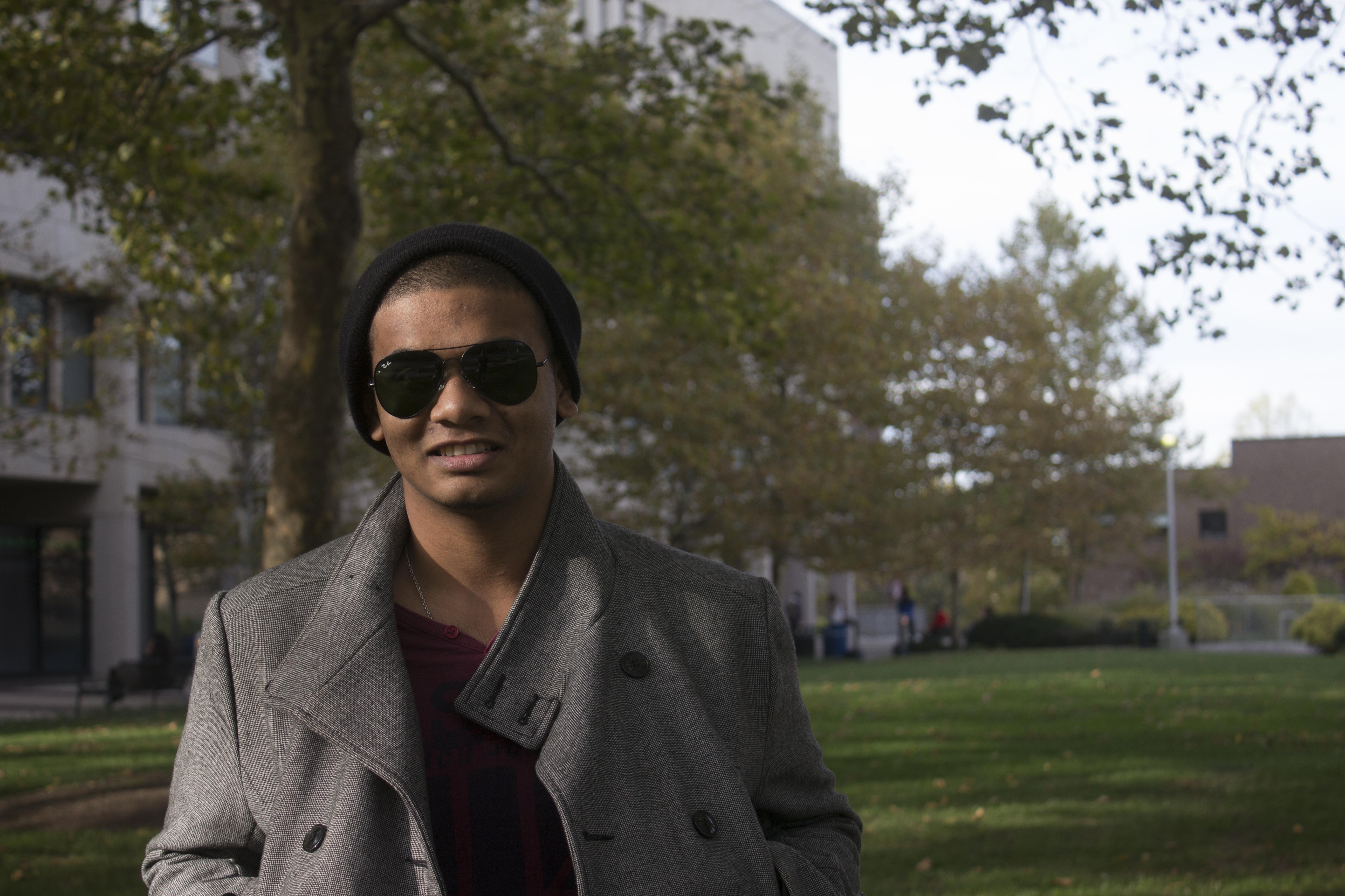 Saadat Taaseen, a senior chemistry major, poses for a photo on Monday, Oct. 20, 2014. (MEGAN MILLER / THE STATESMAN)
