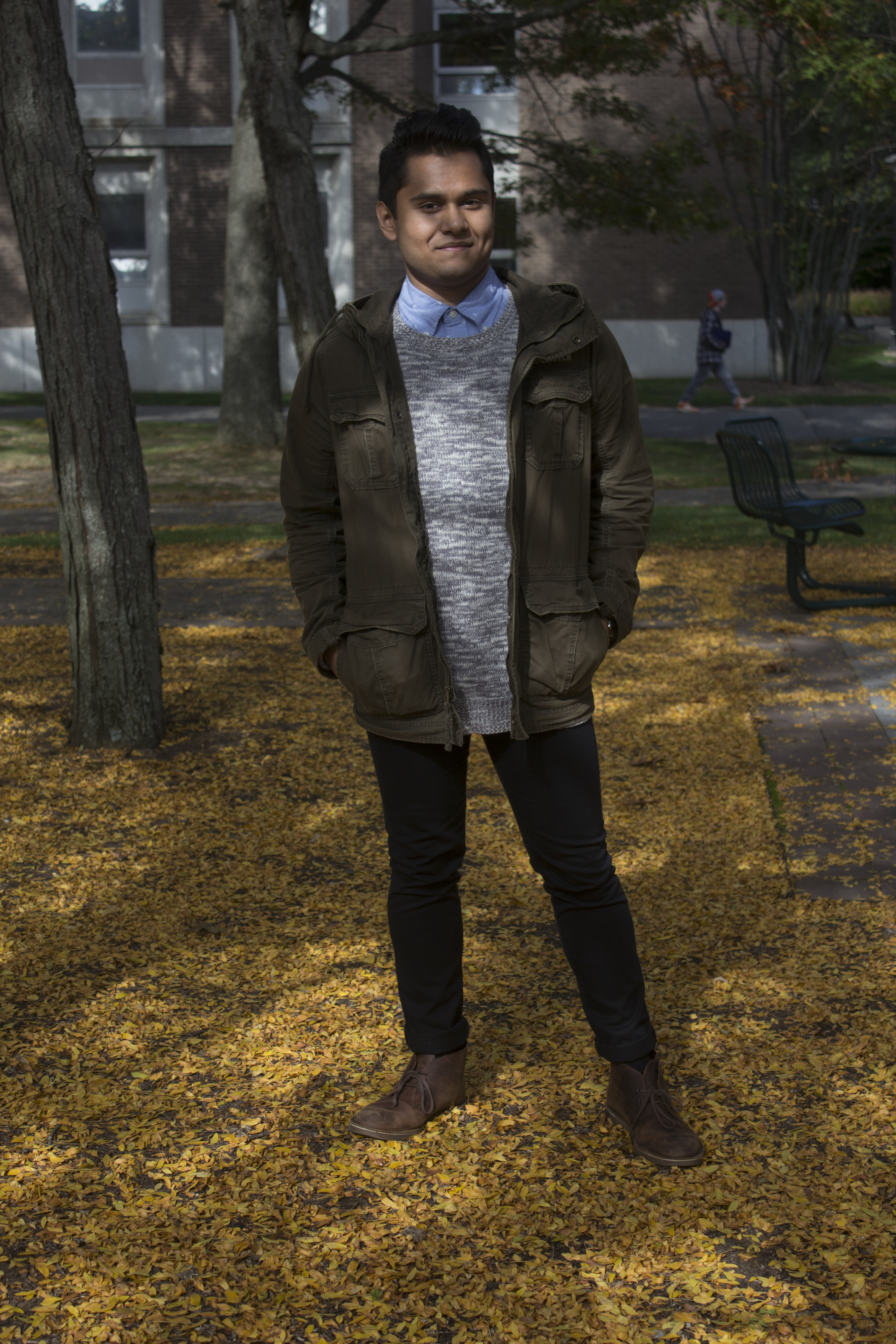 """Rafid Inam, freshman Biology major, poses for a photo on Monday, Oct. 20, 2014. """"I express my thoughts through fashion,"""