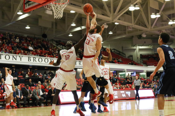 Chris Braley, No. 23, averaged 1.3 points and 1.5 rebounds a game in his two season at Stony Brook. HANAA' TAMEEZ / THE STATESMAN