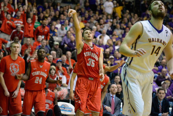 Scott King came off the bench with four points, including a three pointer, in the America East championship game against Albany on Saturday, March 14, 2015. HEATHER KHALIFA / THE STATESMAN