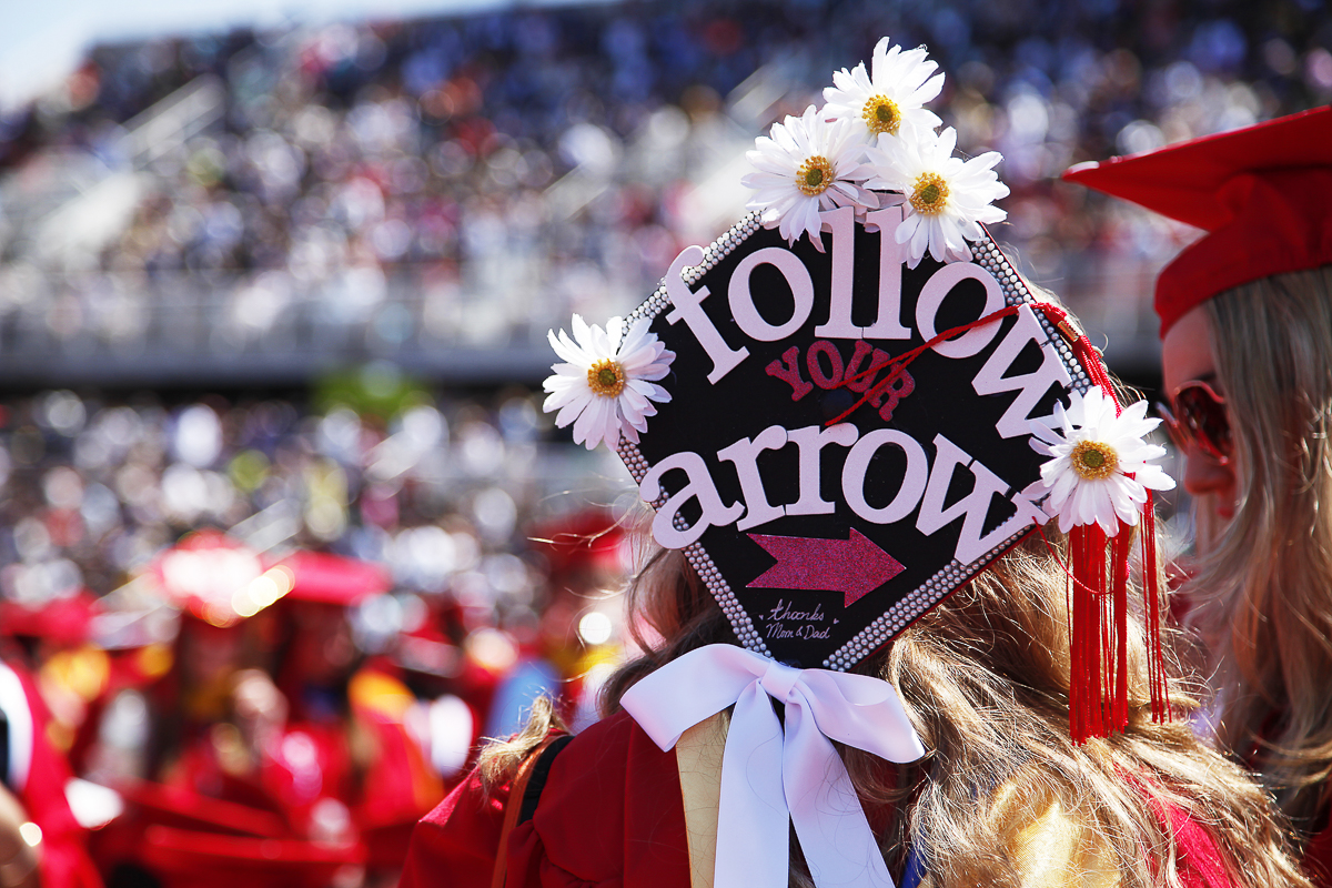 Graduating Stony Brook students decorated their caps for the 2015 commencement ceremony. <em>BRIDGET DOWNES/STATESMAN FILE</em>