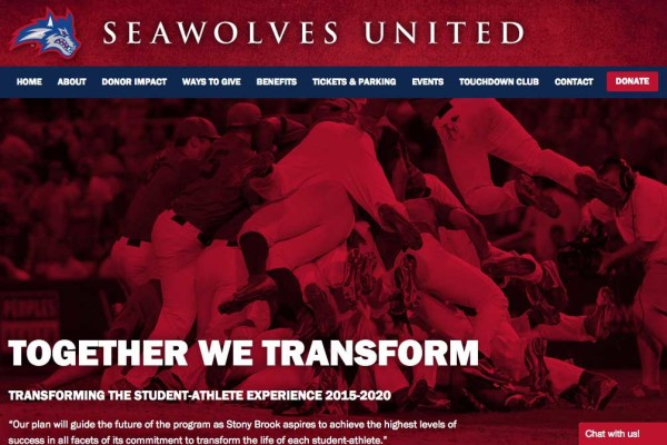 screenshot of athletics website