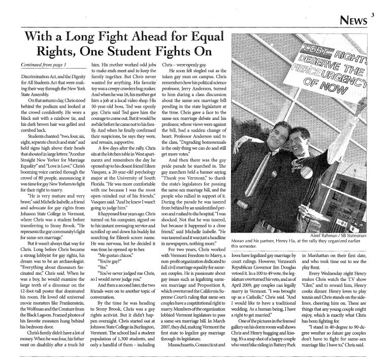 Dec. 7. 2009: With a Long Fight Ahead for Equal Rights, One Student Fights On