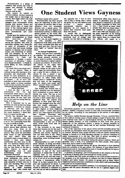 May 11, 1972: One Student Views Gayness; Help on the Line