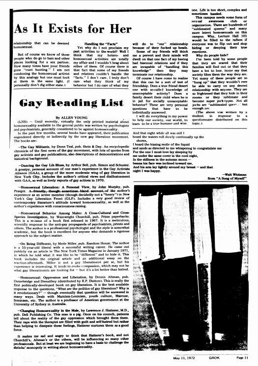 May 11, 1972: Gay Reading List