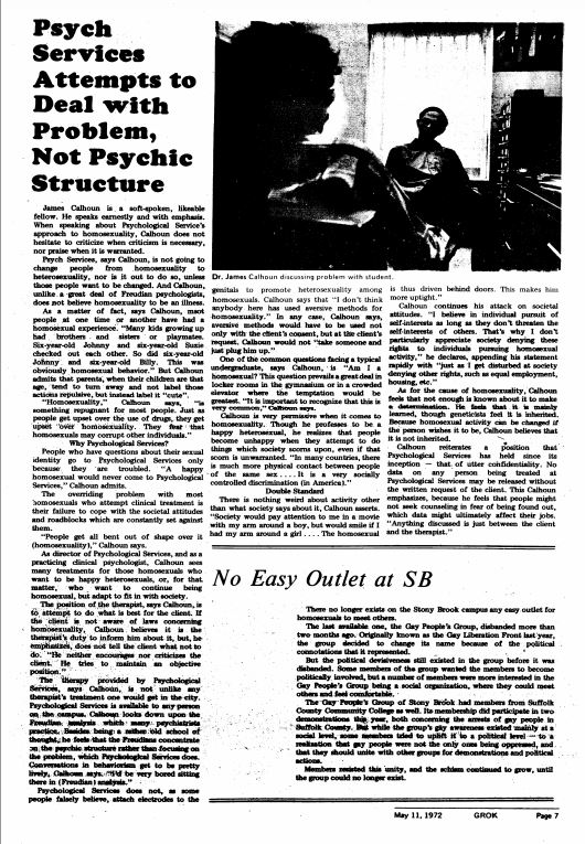 May 11, 1972: Psych Services Attempts to Deal with Problem, Not Psychic Structure; No Easy Outlet at SB
