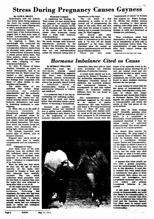 May 11, 1972: Stress During Pregnancy Causes Gayness; Hormone Imbalance Cited as Cause