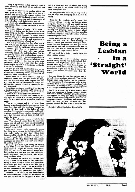 May 11, 1972: Being a Lesbian in a 'Straight' World