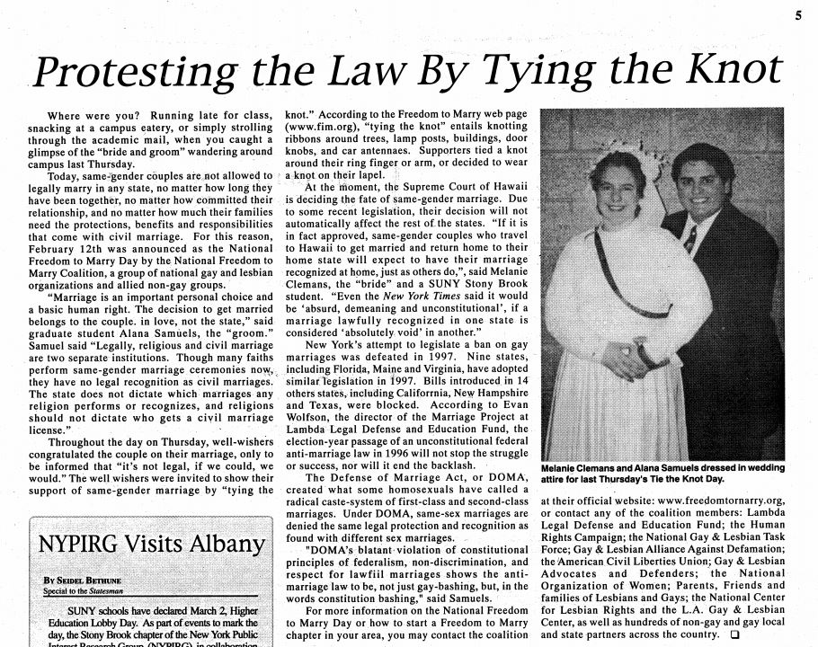 Feb. 16, 1998: Protesting the Law By Tying the Knot