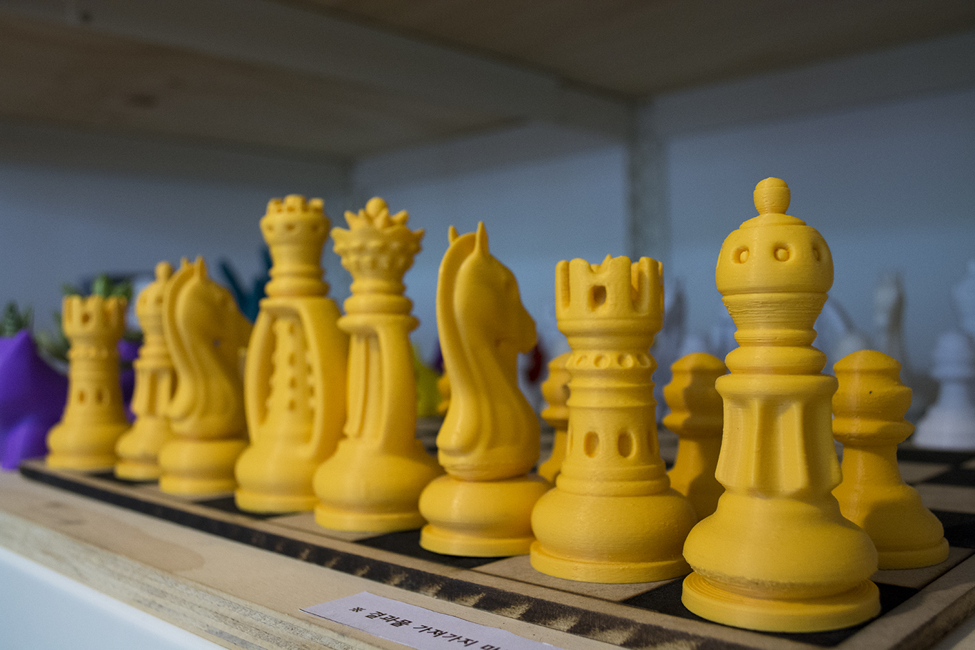 A set of 3D printed chess pieces on display in the Content Korea lab in Daehangno, Seoul.(CHRISTOPHER CAMERON/THE STATESMAN)