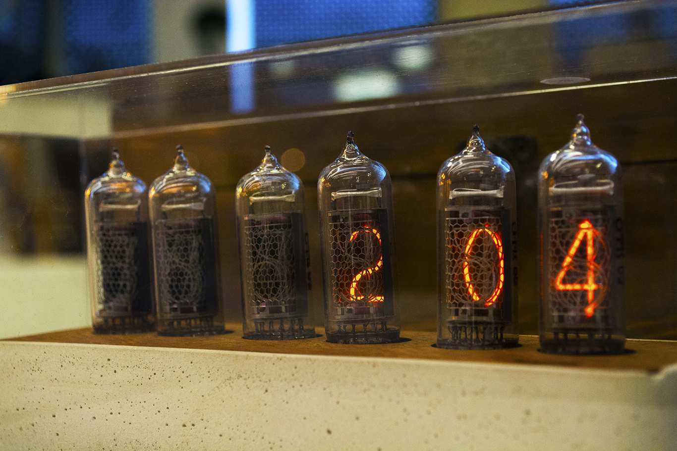 A Nixie tube clock on display at the Dongdaemun Design Plaza in Seoul, South Korea.  (CHRISTOPHER CAMERON/THE STATESMAN)
