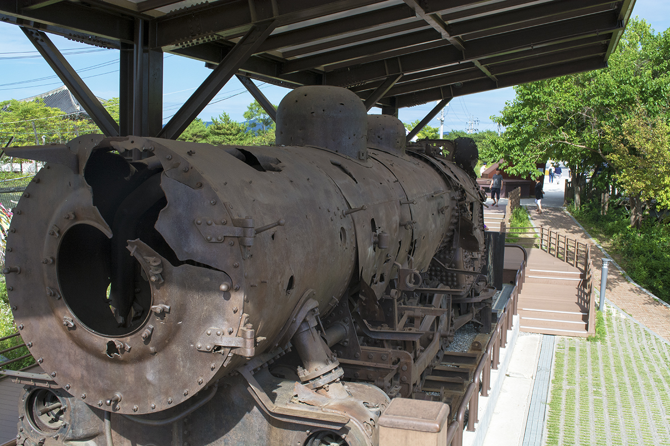 The wreckage of a South Korean logistics train from the Korean War on display at Imjingak just outside the Korean DMZ. The train was severely damaged by communist insurgents during its final journey. (CHRISTOPHER CAMERON/THE STATESMAN)
