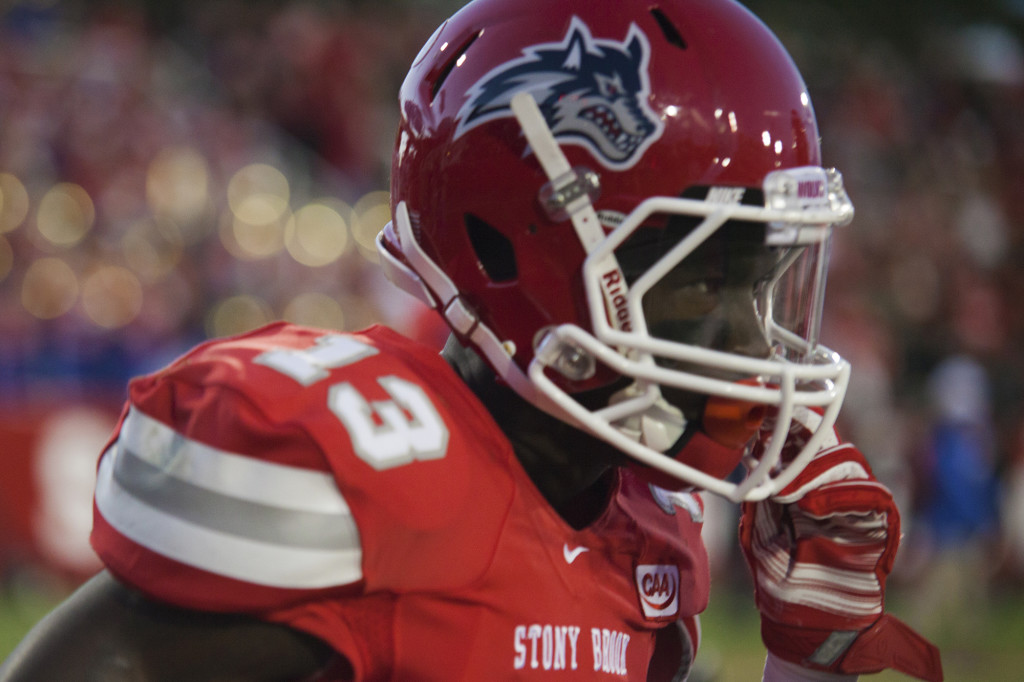 Sophomore wide receiver Ray Bolden (No. 13, above) has stood out for Stony Brook, catching nine passes on Saturday.