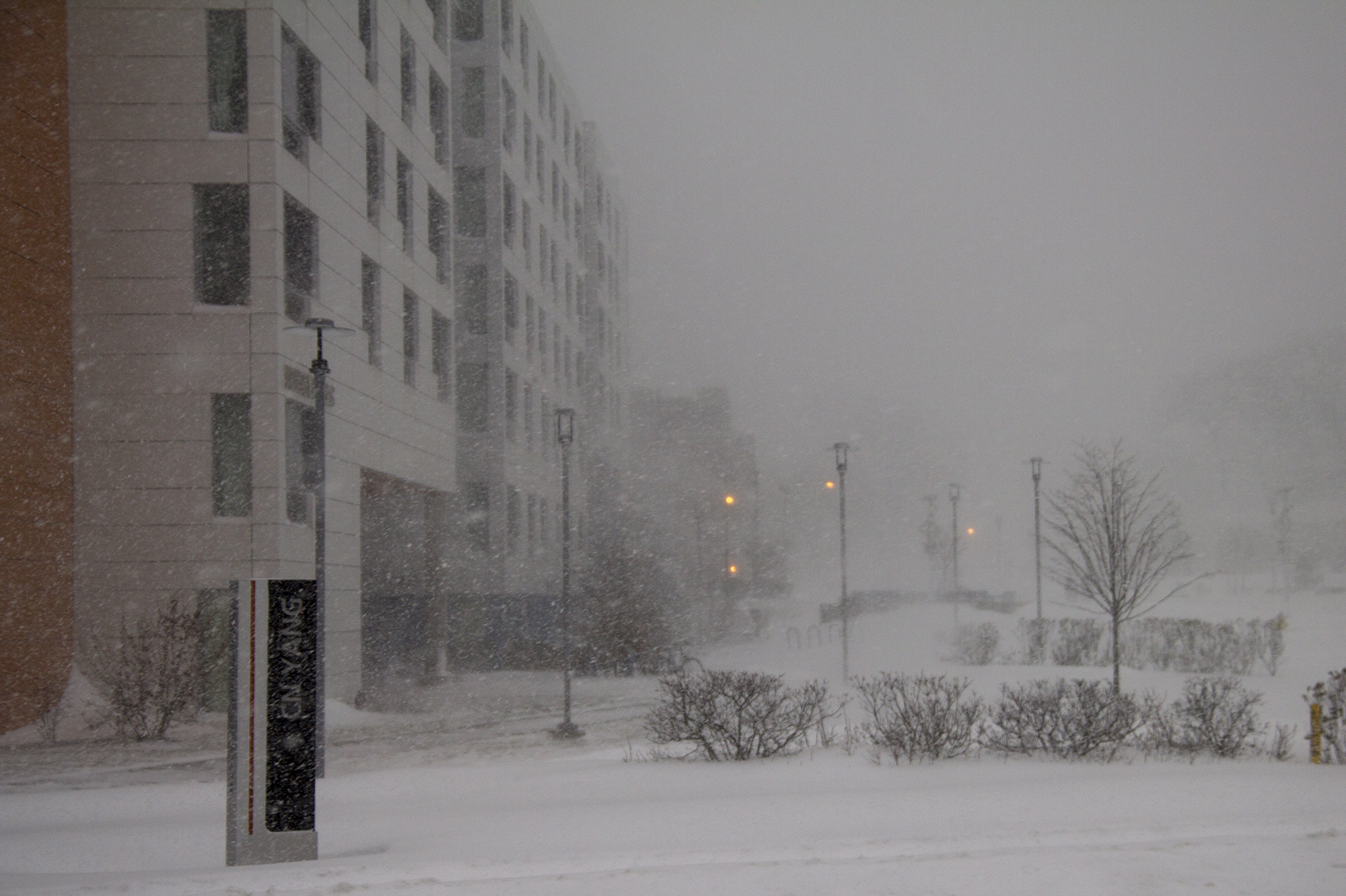 Blizzard conditions near the Nobel Halls.  ERIC SCHMID/THE STATESMAN