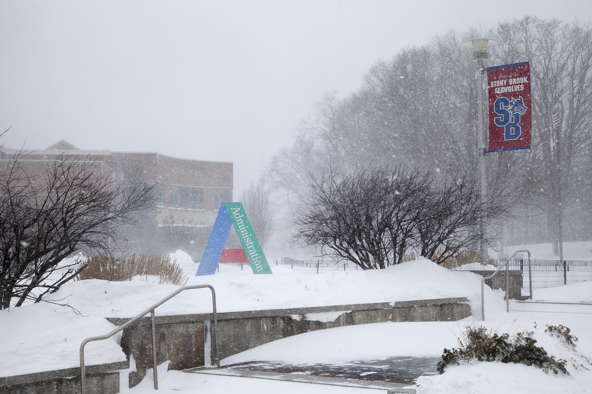The Administration building at Stony Brook University during Winter Storm Jonas on Saturday, Jan. 23. CHRISTOPHER CAMERON/THE STATESMAN