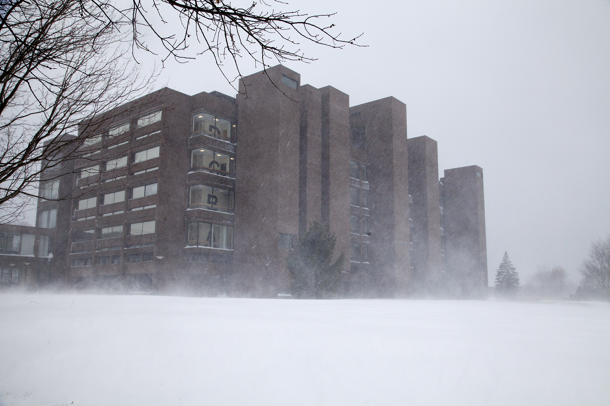 The Physics building as seen from the Campus Recreation Center at Stony Brook University during Winter Storm Jonas on Saturday, Jan. 23. CHRISTOPHER CAMERON/THE STATESMAN