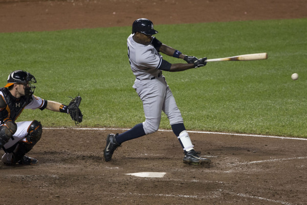 Alfonso Soriano during a Yankees-Orioles game on Sept 10th, 2013