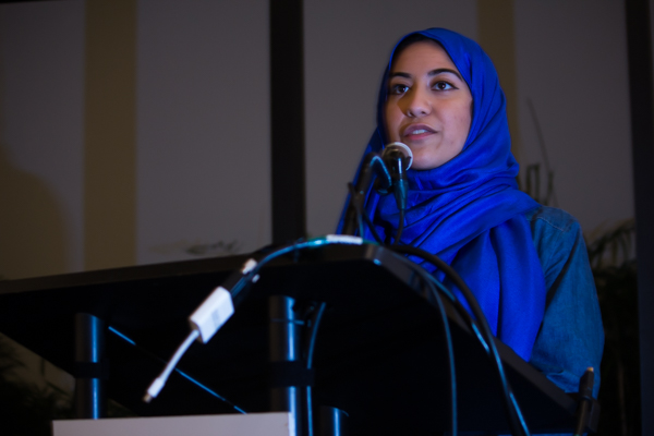 Rakia Syed, a sophomore biology major, stood on stage and spoke about her experience wearing the hijab for a day. TIBIAN AHMED/THE STATESMAN