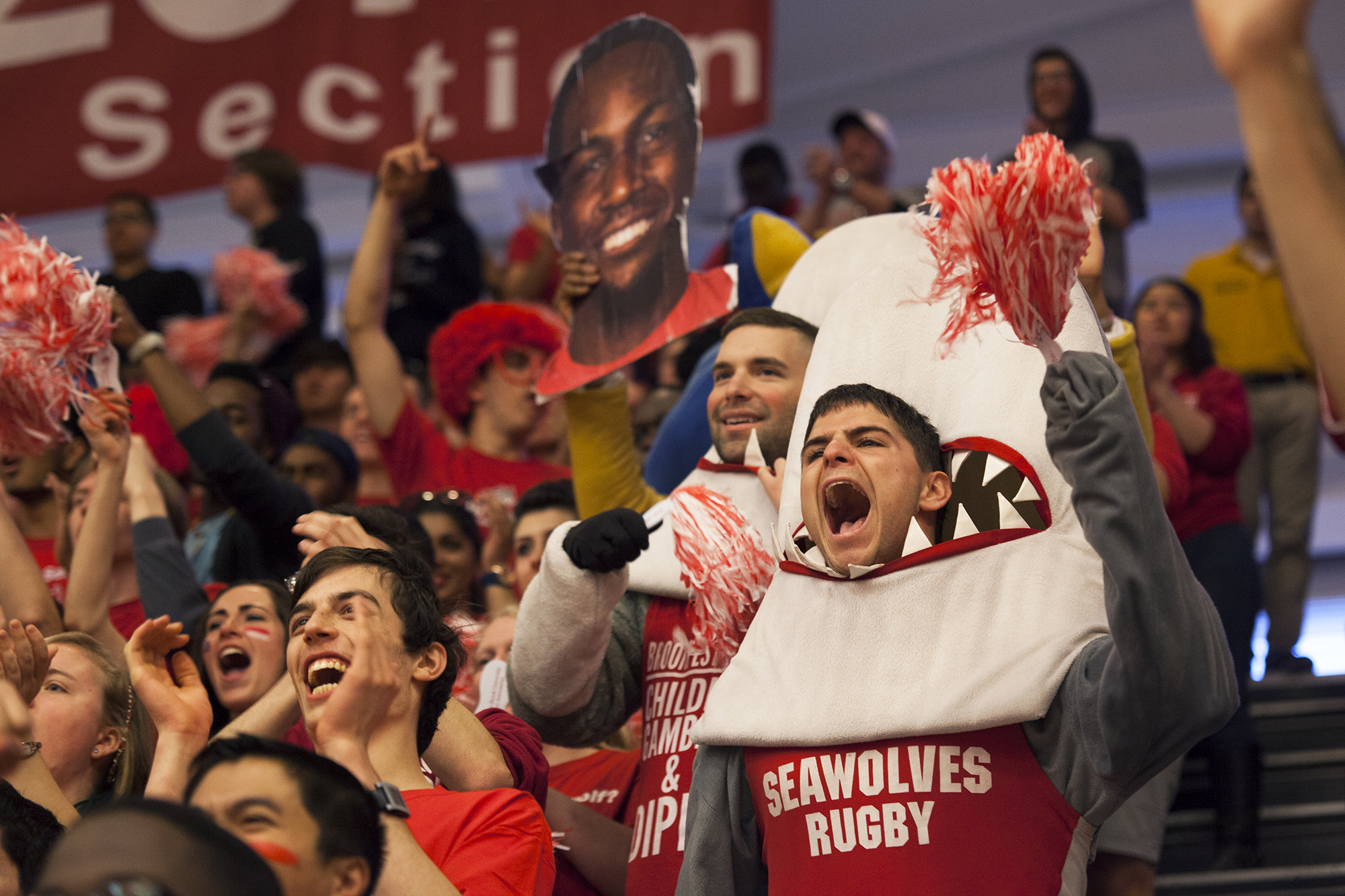 Stony Brook students, dressed up in costumes and holding signs, cheer on their team as the American East championship game begins. CHRISTOPHER CAMERON/THE STATESMAN