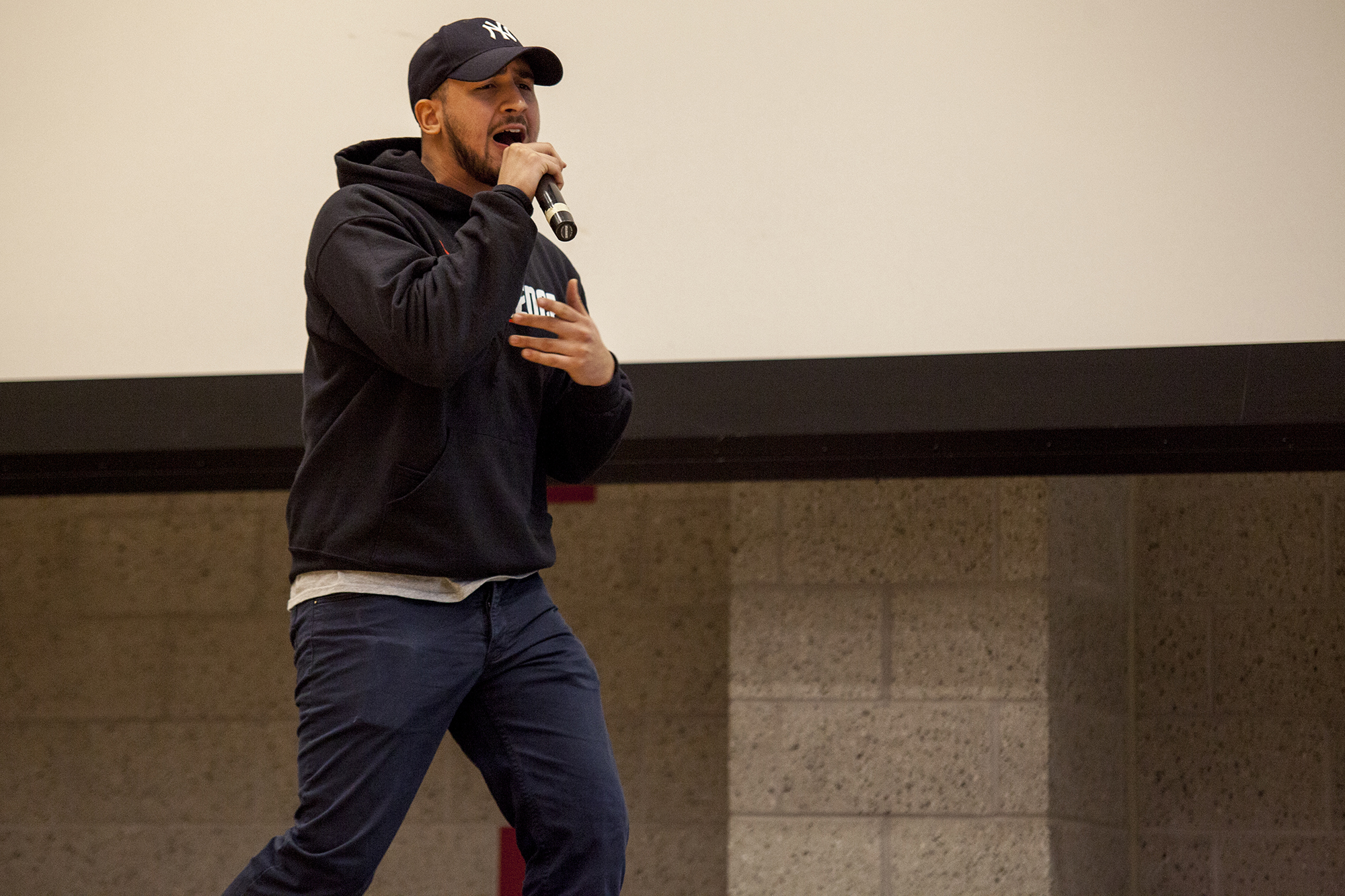 Joel Polanco rounded out the event's performances with some rapping. <em>ERIC SCHMID/THE STATESMAN</em>
