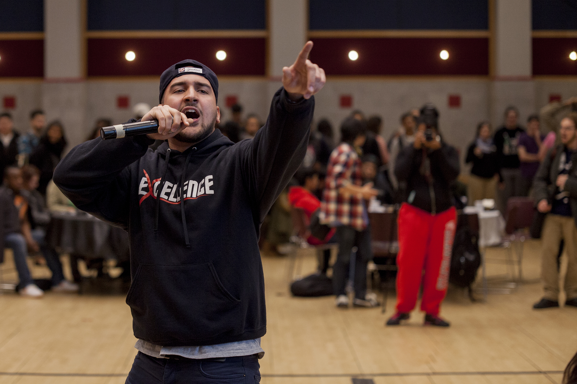 After Joel Polanco finished his act, USG officially announced the lineup of Cash Cash and Future for Brookfest 2016. <em>ERIC SCHMID/THE STATESMAN</em>