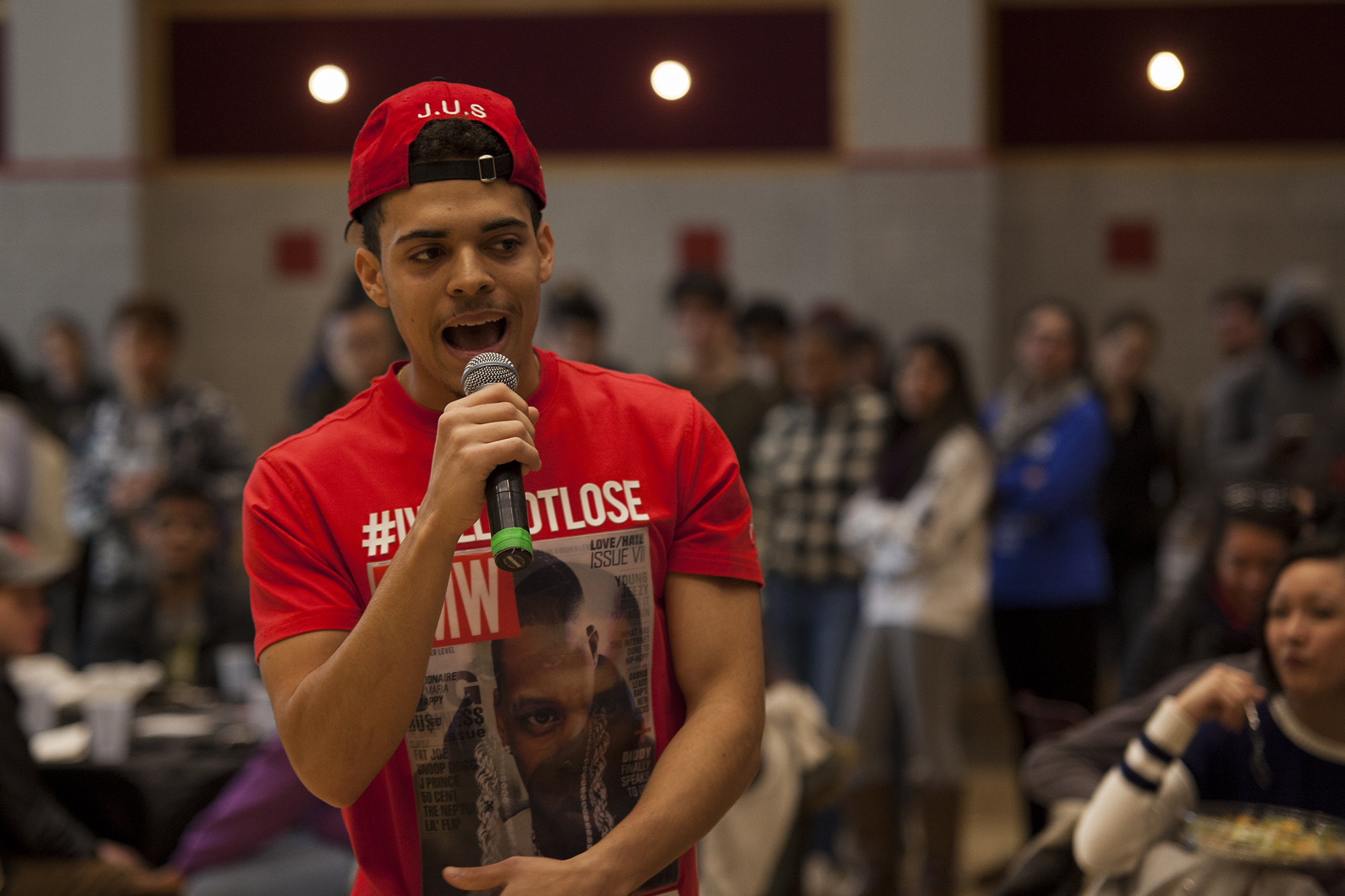 J.U.S. performed original work during his act at the Artist Release Party. He said he has been producing music since he was 14.<em>ERIC SCHMID/THE STATESMAN</em>