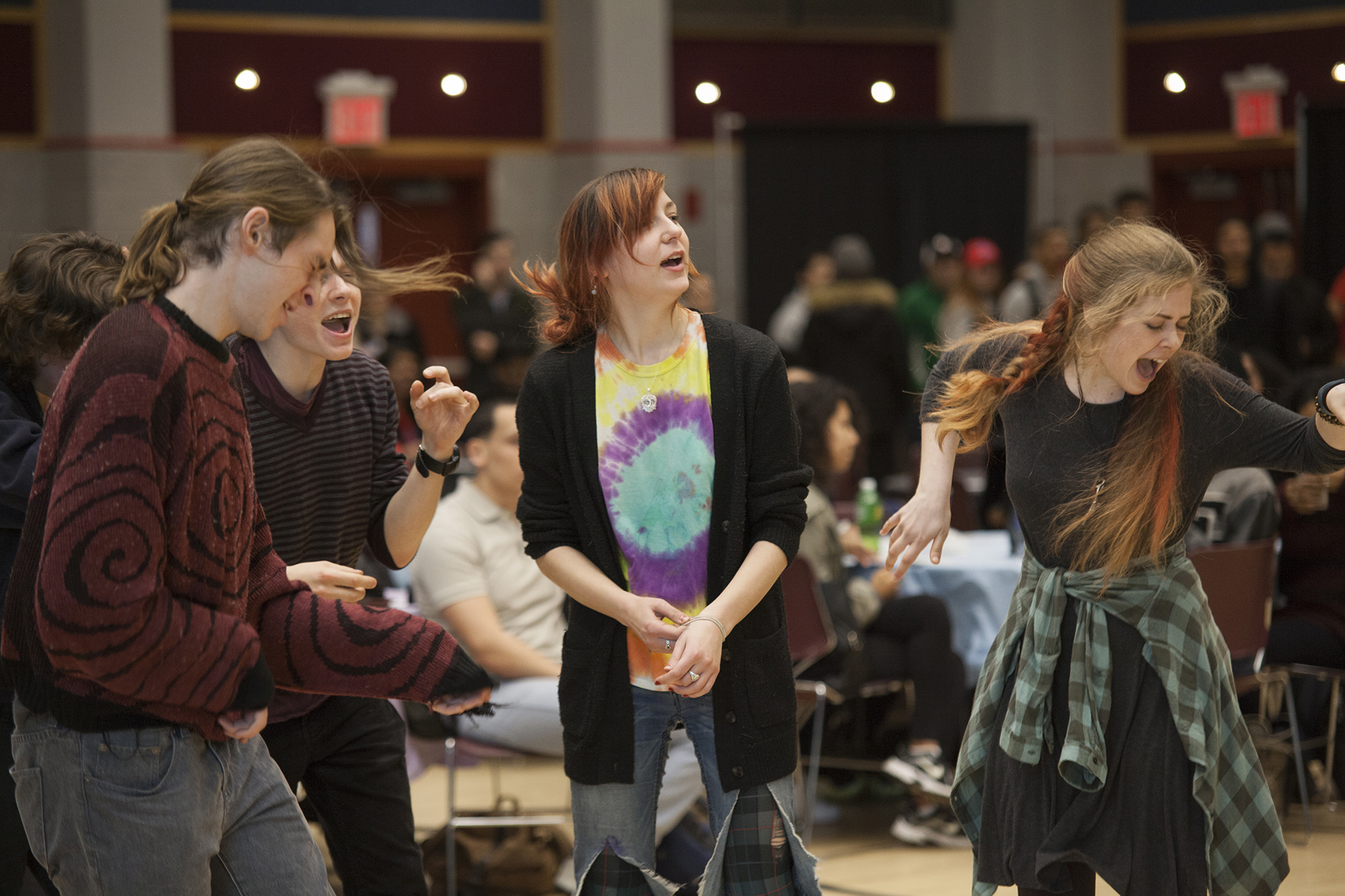 From left to right, Dylan Israelian, Sam Vadopia, Ashlin Jordan and Bridget Foley, dance to The Beatles'