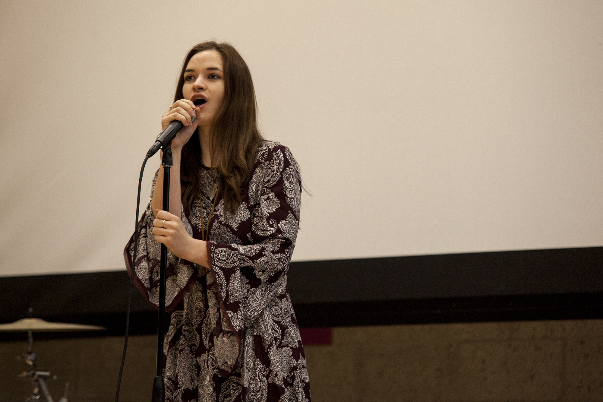 Lauren Ralbovsky sang for Famous People, the first group who performed, battling for a chance to perform at Brookfest 2016. <em>ERIC SCHMID/THE STATESMAN</em>