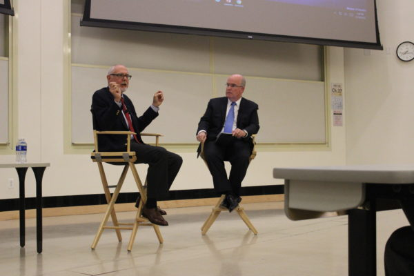 Corey Flintoff (left) gives a talk at Stony Brook University. ANAMARIA SALOBO/THE STATESMAN