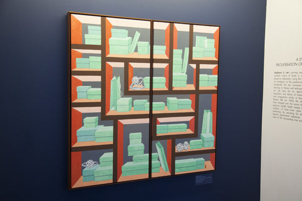 The Book: A Symbol of the Proliferation of Materialism by Stephanie S. Lee, shown above, is one of the many works of Korean art now on display at the Charles B. Wang Center. ARACELY JIMENEZ/THE STATESMAN