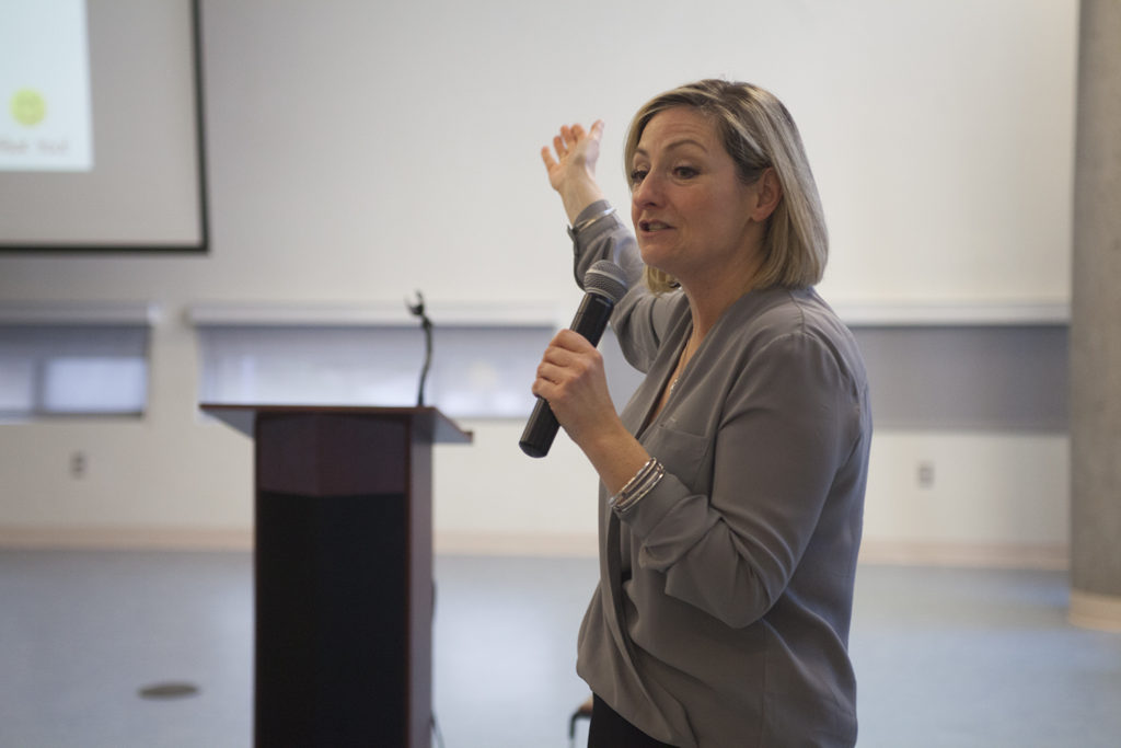 Lara Hunter, national director of Red Watch Band, led the celebration of a record number of Stony Brook University students trained in one semester. ARACELY JIMENEZ/THE STATESMAN
