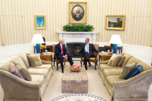 President Obama meets with President-Elect Trump on Nov. 10. After the election, Obama, Trump and Clinton all called for PUBLIC DOMAIN