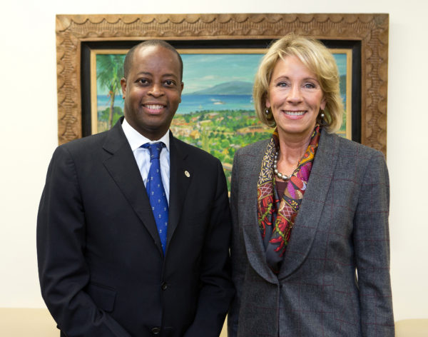Secretary of Education Betsy DeVos (right) meets with Howard University President Wayne A.I. Frederick (left) on Feb. 9. US DEPARTMENT OF EDUCATION/FLICKR VIA CC BY 2.0
