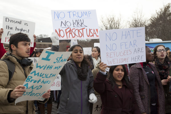 Stony Brook University students attend the March for Unity at the SAC Plaza on Feb. 1. ANNA CORREA/THE STATESMAN