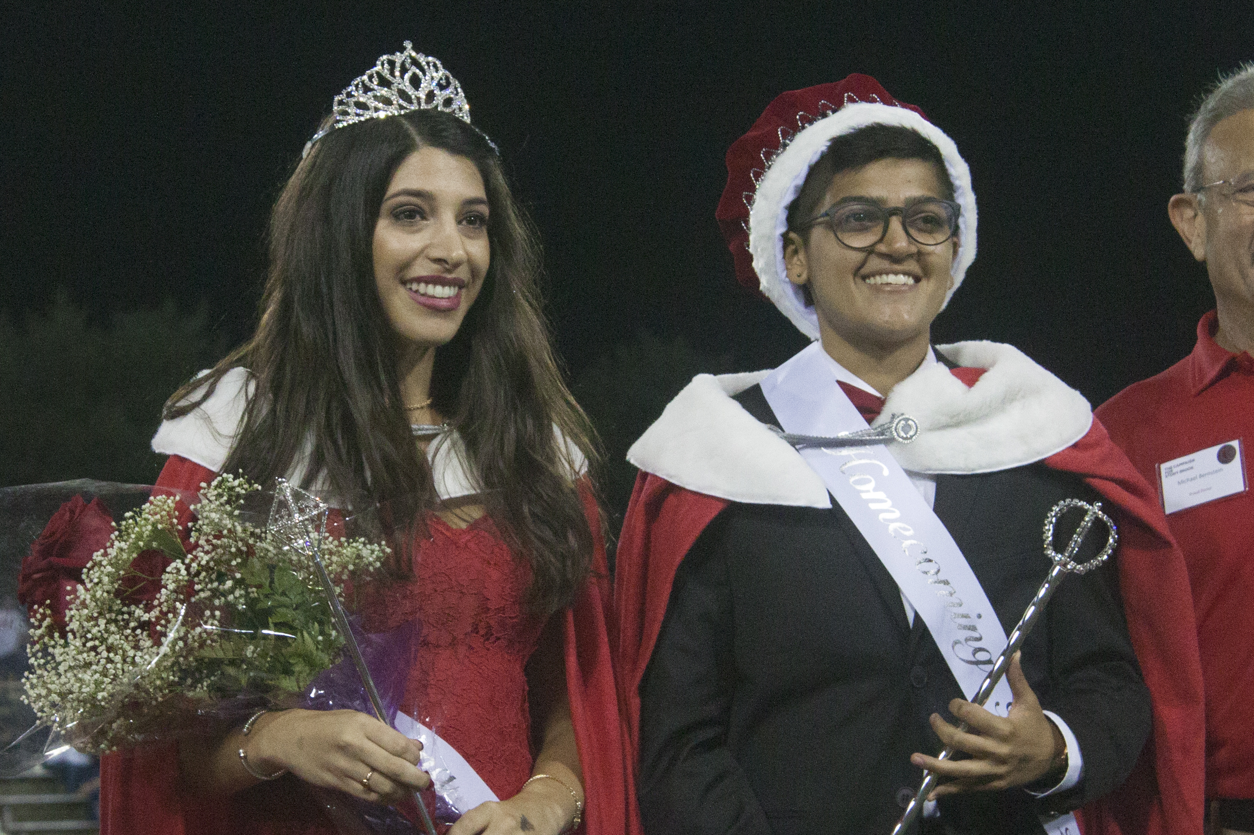 Veronica Fox (left) and PP Pandya (right) were crowned Homecoming Queen and King. <em>ARACELY JIMENEZ/THE STATESMAN</em>