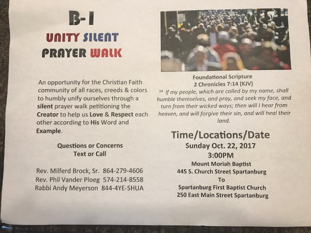 Unity prayer walk 171008