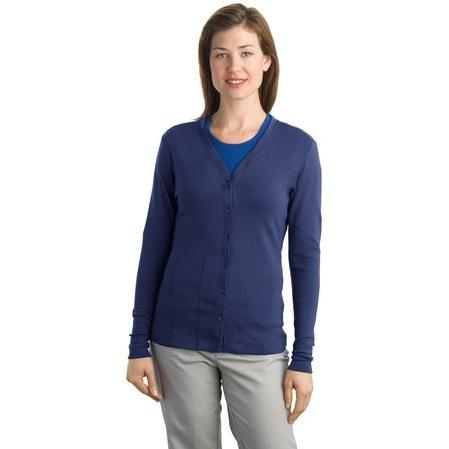 Port Authority Ladies Modern Stretch Cotton Cardigan 3XL - Sapphire Blue