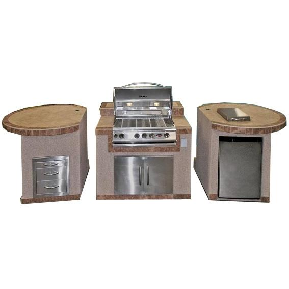 Cal Flame 3-Piece BBQ Island With 32 Inch Cal Flame Natural Gas BBQ Grill
