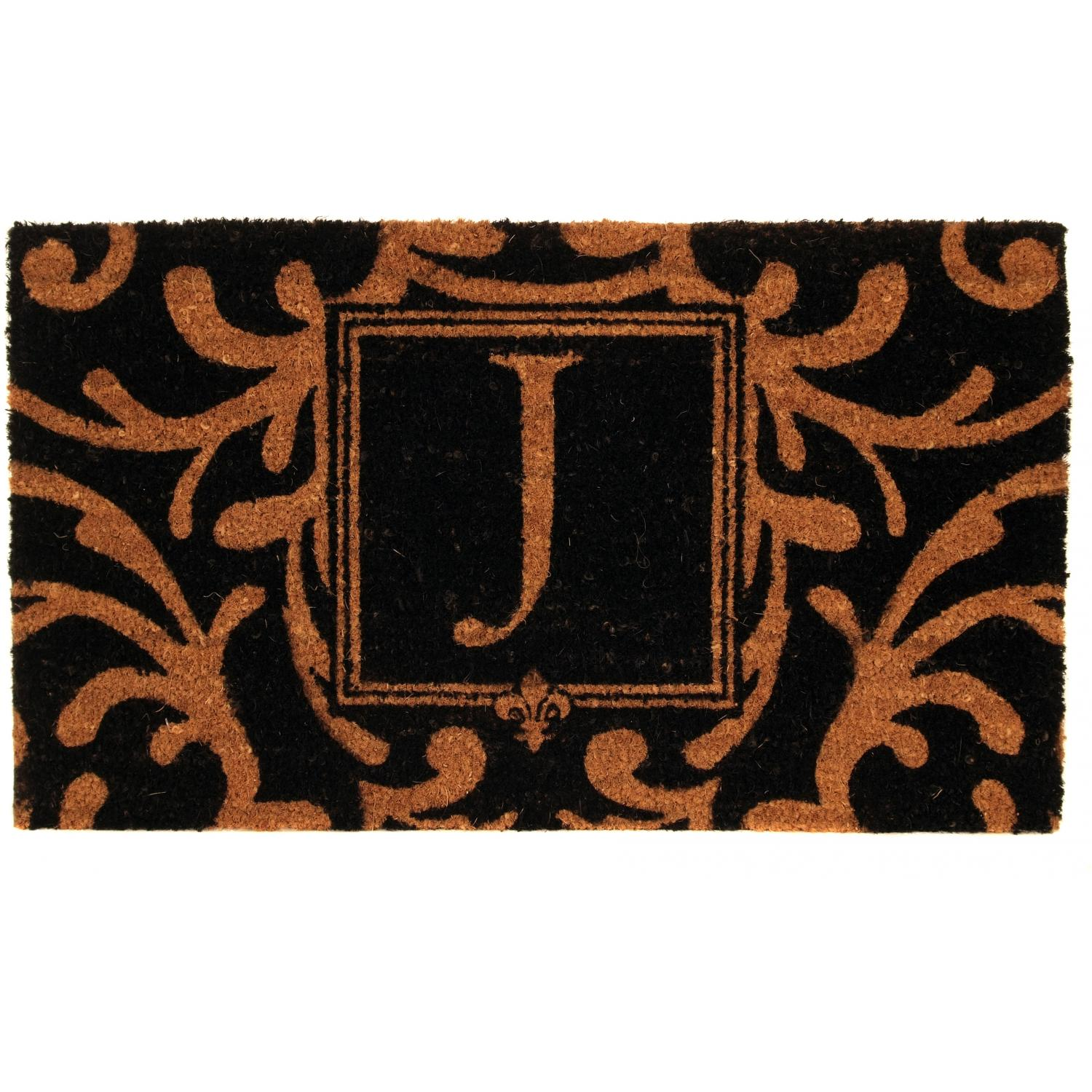 Picture of Evergreen Classic Block Monogram Coir Door Mat - Letter J